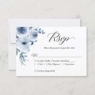 Dusty Blue Botanical Floral Wedding RSVP Card