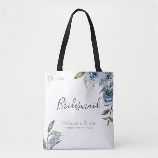 Dusty Blue Botanical Personalized Bridesmaid Tote Bag