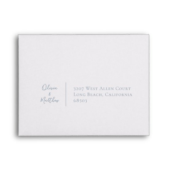 Dusty Blue Botanical Personalized Return Address Envelope