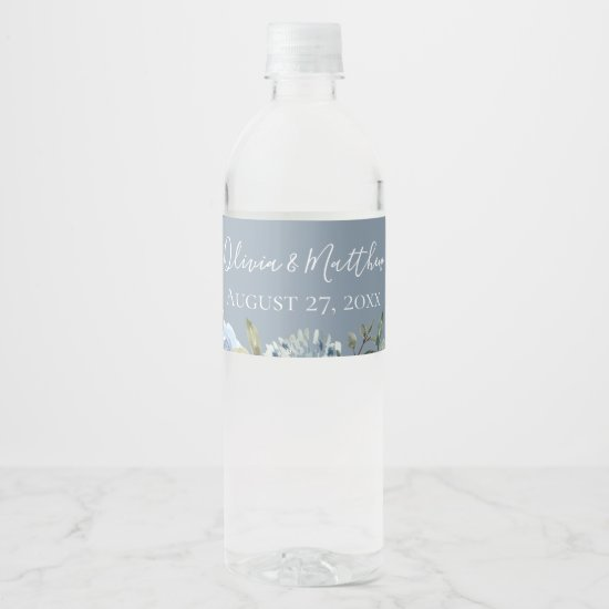 Dusty Blue Botanical Personalized Water Bottle Label