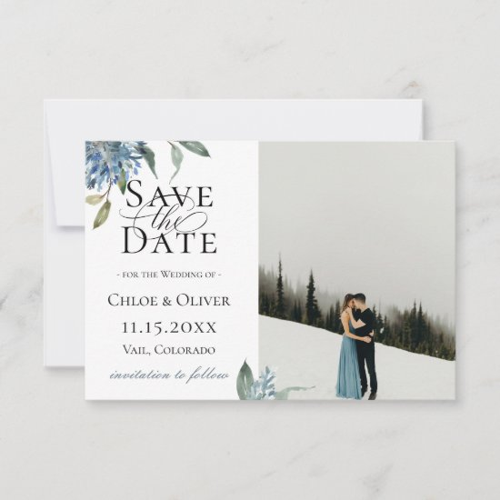 Dusty Blue Botanical Photo Save The Date Announcement