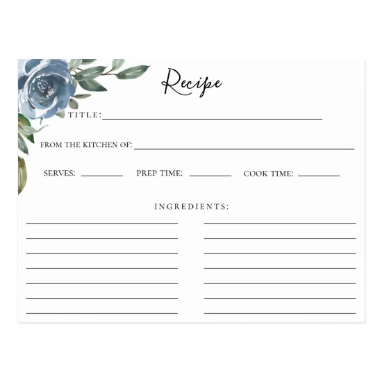 Dusty Blue Botanical Recipe Card