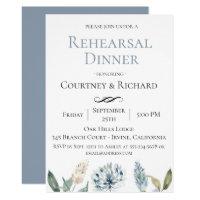Dusty Blue Botanical Rehearsal Dinner Invitation