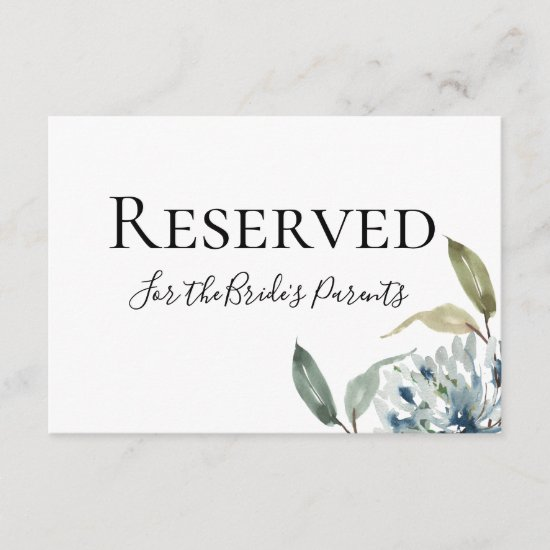 Dusty Blue Botanical Reserved Sign