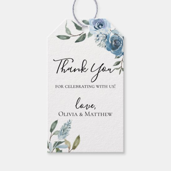 Dusty Blue Botanical Thank you Gift Tags