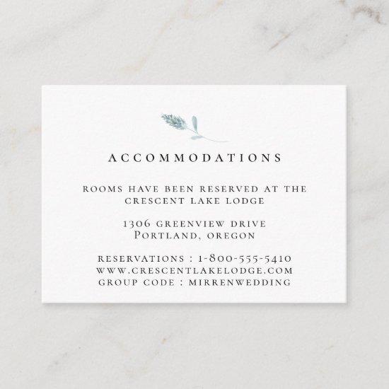 Dusty Blue Botanical Wedding Accommodations Enclosure Card