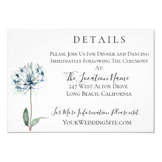 Dusty Blue Botanical Wedding Details Invitation