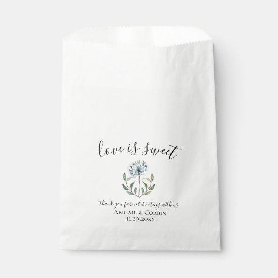 Dusty Blue Botanical Wedding Favor Bag