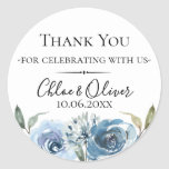 "Dusty Blue Botanical Wedding Favor Classic Round Sticker<br><div class=""desc"">Chic dusty blue watercolor flowers and botanical branches,  personalized wedding favor sticker. Designed to match our Dusty Blue Botanical Collection. Customize text font style,  color and size.</div>"