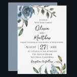 "Dusty Blue Botanical Wedding Invitation<br><div class=""desc"">Watercolor flowers in chic dusty blue with botanical branches,  wedding invitation. Customize text,  font style,  color and size.</div>"