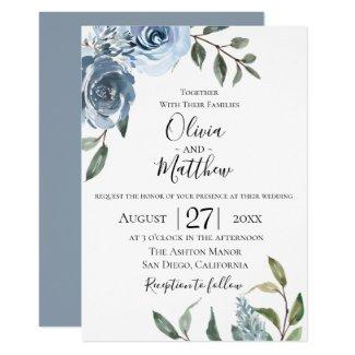 Dusty Blue Botanical Wedding Invitation
