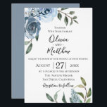 "Dusty Blue Botanical Wedding Invitation<br><div class=""desc"">Watercolor garden flowers in chic and trendy dusty blue with soft green botanical branches,  wedding invitation. Back of card features solid coordinating dusty blue color. Customize text,  font style,  color and size.</div>"