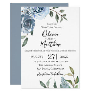 Dusty Blue Wedding Card Templates