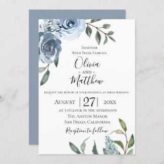 Dusty Blue Wedding Card Templates