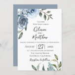 """Dusty Blue Botanical Wedding Invitation<br><div class=""""desc"""">Watercolor garden flowers in chic and trendy dusty blue with soft green botanical branches,  wedding invitation. Back of card features solid coordinating dusty blue color. Customize text,  font style,  color and size.</div>"""