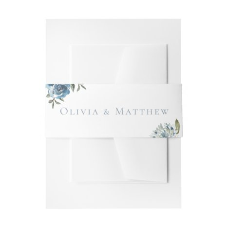 Dusty Blue Botanical Wedding Invitation Belly Band