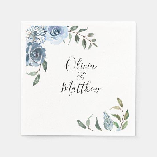 Dusty Blue Botanical Wedding Napkin