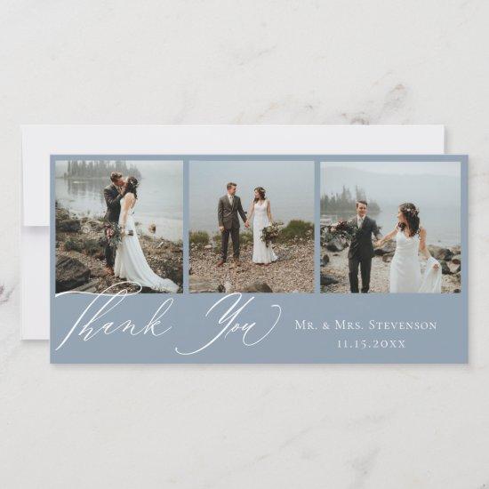 Dusty Blue Botanical Wedding Photo Thank You