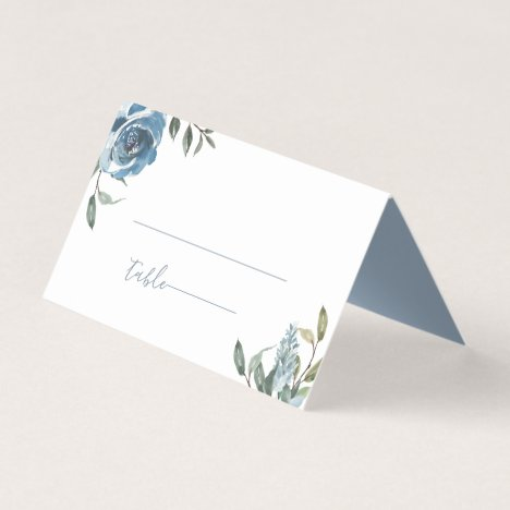 Dusty Blue Botanical Wedding Place Card