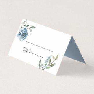 Dusty Blue Botanical Wedding Place Card