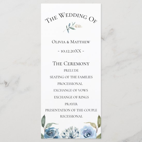 Dusty Blue Botanical Wedding Program