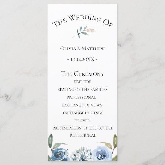 Dusty Blue Botanical Wedding Program