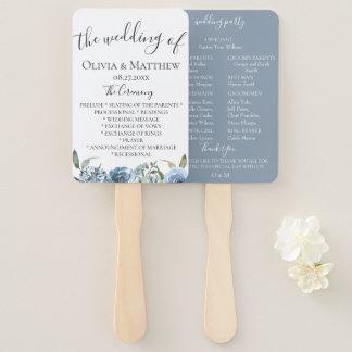 Dusty Blue Botanical Wedding Program Hand Fan