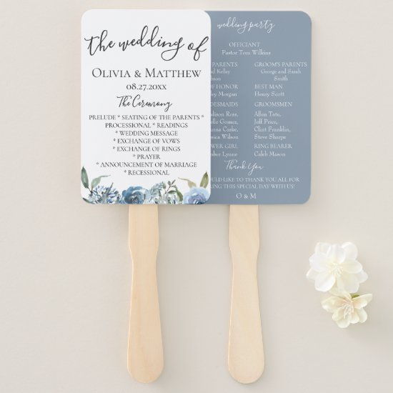Dusty Blue Botanical Wedding Program Hand Fan