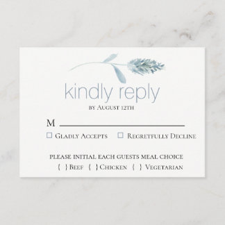 Dusty Blue Botanical Wedding RSVP Card