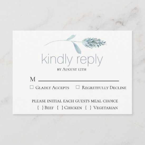 Dusty Blue Botanical Wedding RSVP Card