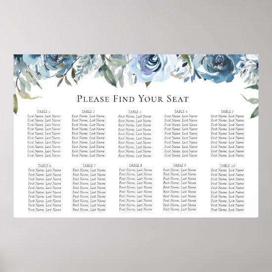 Dusty Blue Botanical Wedding Seating Chart