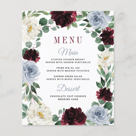 Dusty Blue Burgundy Boho Fall Wedding Menu Cards