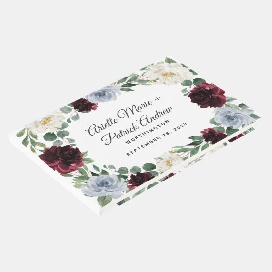 Dusty Blue Burgundy Cranberry Ivory Fall Wedding Guest Book