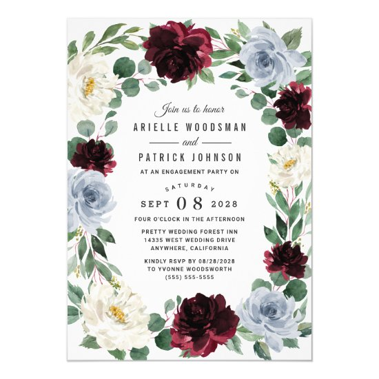 Dusty Blue Burgundy Elegant Fall Engagement Party Invitation