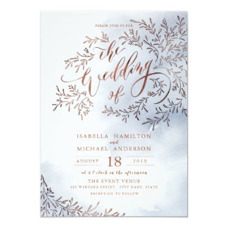 Dusty blue calligraphy rustic floral wedding card