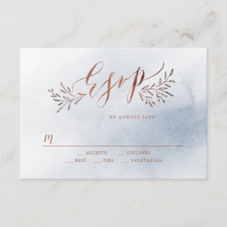 Dusty blue calligraphy rustic floral wedding RSVP
