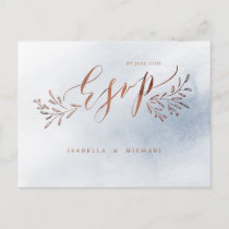 Dusty blue calligraphy rustic floral wedding RSVP Invitation Postcard