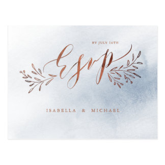 Dusty blue calligraphy rustic floral wedding RSVP Postcard