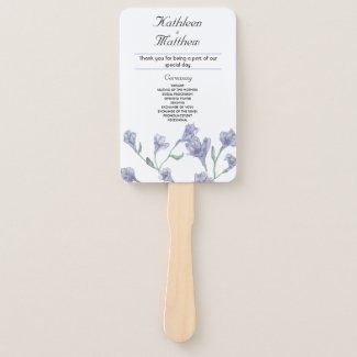 Dusty Blue Clematis Watercolor Floral Wedding Hand Fan