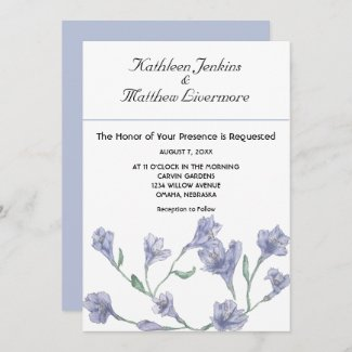 Dusty Blue Clematis Watercolor Floral Wedding Invitation