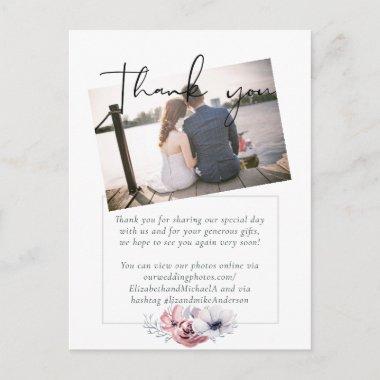 Dusty Blue Coral Floral Script Wedding Thank You Postcard