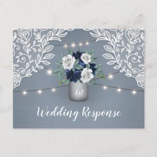 Dusty Blue Country Lace Mason Jar Wedding RSVP Invitation Postcard