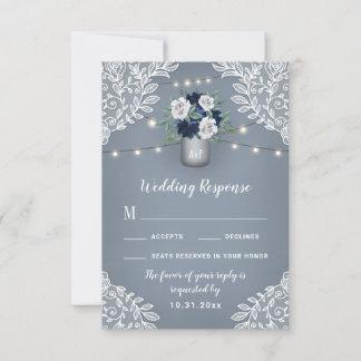Dusty Blue Country Mason Jar Wedding RSVP Cards