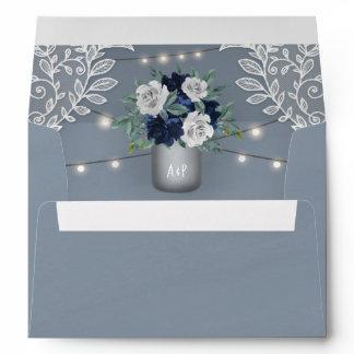 Dusty Blue Country White Lace Mason Jar Wedding Envelope