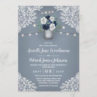 Dusty Blue Country White Lace Mason Jar Wedding Invitation