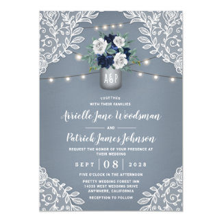 Dusty Blue Country White Lace Mason Jar Wedding Invitation