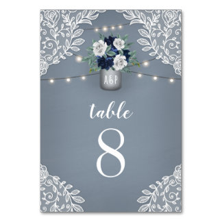 Dusty Blue Country White Lace Mason Jar Wedding Table Number