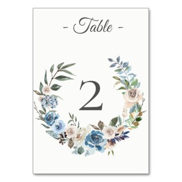 Wedding Themed Dusty Blue Cream Floral Wreath Table Number Card