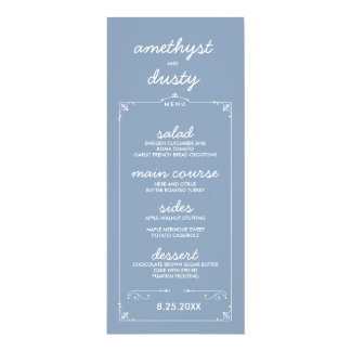 Dusty Blue Custom Color Wedding Menu Cards