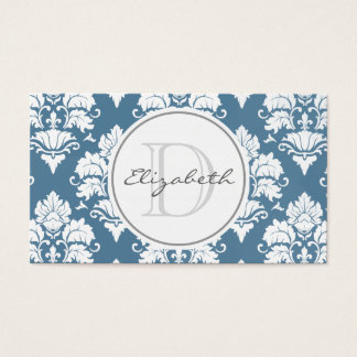 Dusty Blue Damask Monogram Appointment Card